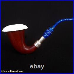 Spigot Calabash Meerschaum Pipe, Silver, Tobacco Smoking Pipe Pipa CASE AGM197