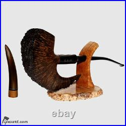 Stunning Churchwarden Pickaxe Smoking Pipe Kit- Horn Inserted Pipe Sottocasa