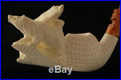 THREE BEARS Hand Carved Meerschaum Tobacco Pipe in a fitted CASE 2641 Pipa NEW