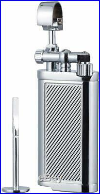 Tobacco Pipe Lighter with Tamper & Pick All in One Flint Stone Chrome