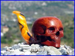 Tobacco Smoking Pipe Human Skull Briar Wood by Oguz Simsek