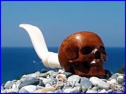Tobacco Smoking Pipe Human Skull Briar Wood by Oguz Simsek skeleton pfeife