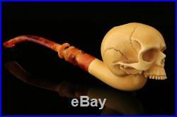 Tobacco/herb No-Chin Skull Churchwarden Block Meerschaum smoking Pipe