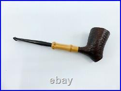 Tsuge Tokyo 553 Sandblast Bent Sitter Briar Tobacco Pipe NEW IN BAG