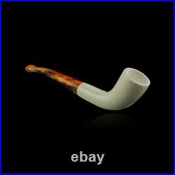 Unique Block Meerschaum Pipe hand carved smoking tobacco pfeife with case
