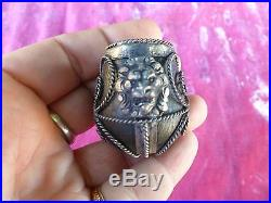 Very Unusual Antique Metal Clad Smoking Pipe With Lions Head