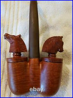 Very Rare Stunning Double Bowl Smoking Pipe With Horses