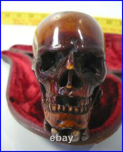 Vintage MEERSCHAUM SKULL Tobacco Smoking Pipe with Red Velvet Lined Fitted Case