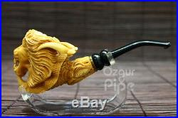 Wild Lion Head In Eagle Claw Collectible Meerschaum Smoking Pipe Pfeife Pipa