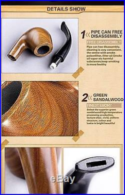Ylyycc green sandalwood bent smoking tobacco pipe with filter element + 3 in